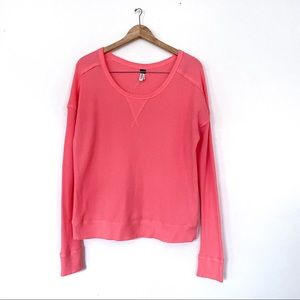 Free people Waffle Thermal Knit Top Coral Pink M